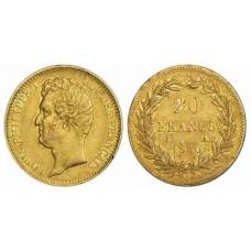 LOUIS PHILIPPE Tête nue - 1830/1831 - 20 FRANCS OR  TETE NUE