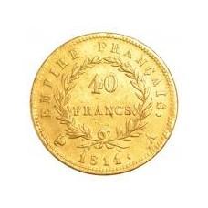 40 Francs Or Napoléon tête laurée revers Empire