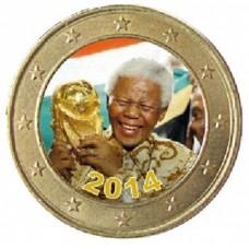 Hommage à Nelson Mandela 2014 - 4 pièces de 1 euro domées en couleur